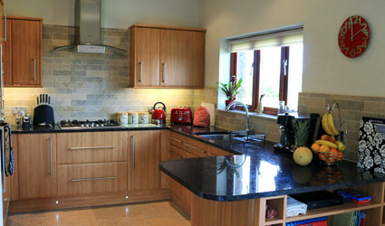 Kitchen area with hob, oven and fridge freezer